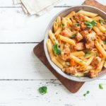 Penne Pasta In Tomato Sauce With Chicken, Parsley In Pan. Chick